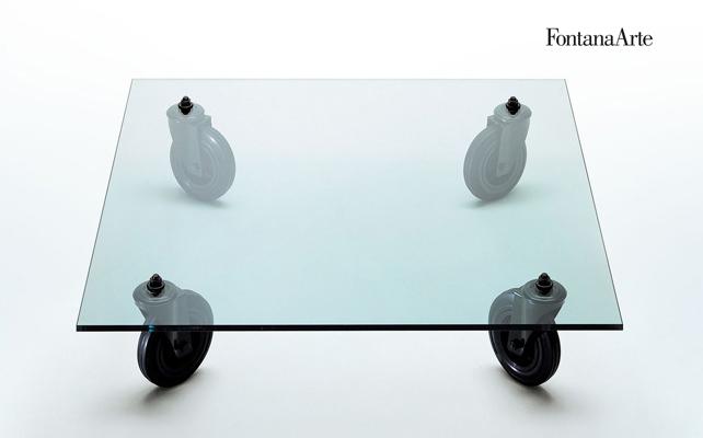 Tavolo con ruote fontana arte tavolino in cristallo di - Tavolo con ruote gae aulenti ...